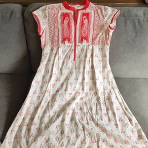 White and Red Embroidered Bohemian Summer Dress
